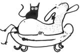 Kresba Petra Peřiny – člověk ve vaně s kočkou