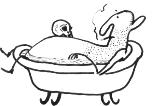 Kresba Petra Peřiny – člověk ve vaně