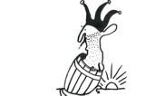 Kresba Petra Peřiny – kašpárek v sudu